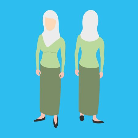 duo: Isometric muslim woman front and back pose