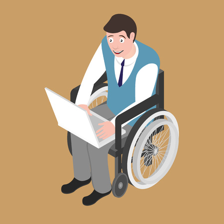medicine wheel: Isometric disabled man on wheelchair working with laptop