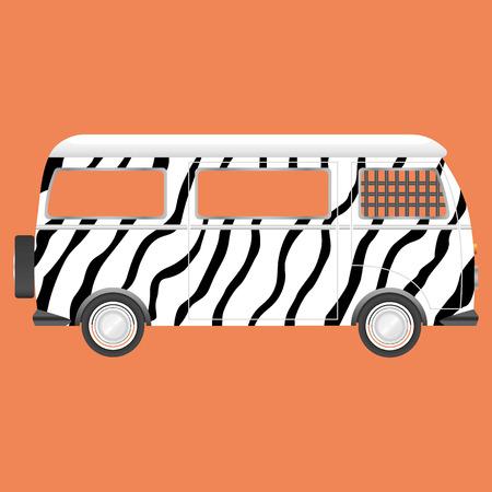 Retro Safaribus Zebraart