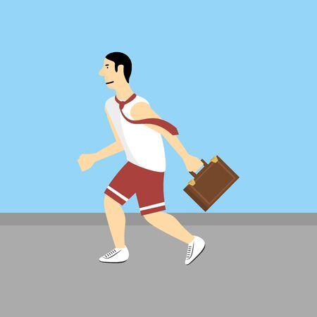 businessman running: Businessman running with briefcase Illustration