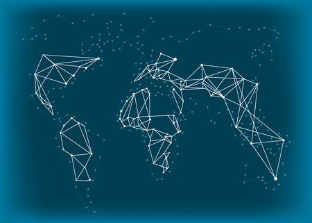 spot lights: World Map polygonal with capitals spot lights effect Illustration