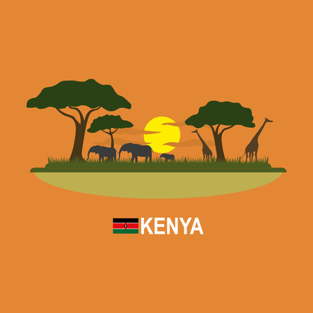 sunset tree: Kenya safari infographic Illustration