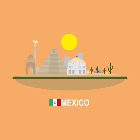 angel de la independencia: México horizonte de lugares de interés turístico Vectores