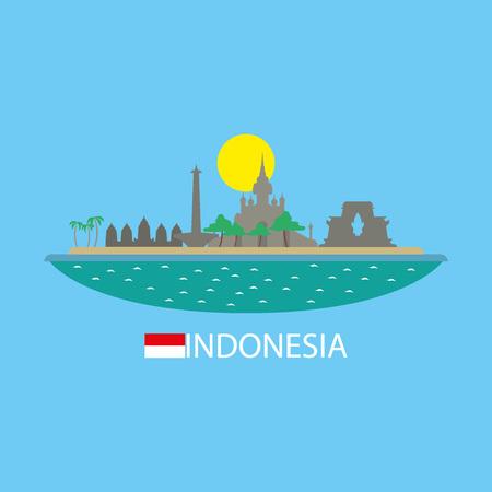 Indonesia famous buildingds infographic Illustration
