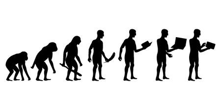인간과 기술 실루엣의 진화 일러스트