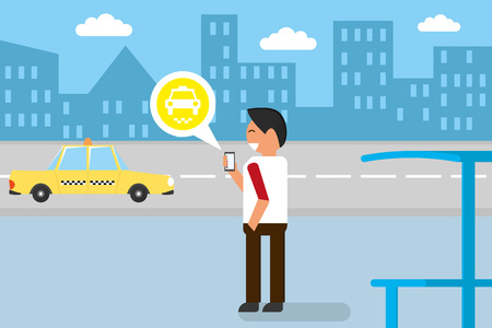 catching taxi: Businessman getting taxi via smartphone