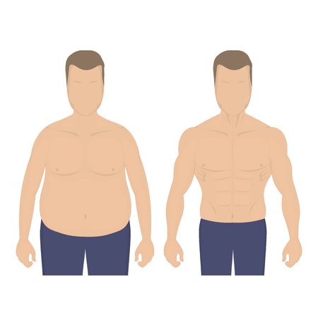 Fat and slim man after diet