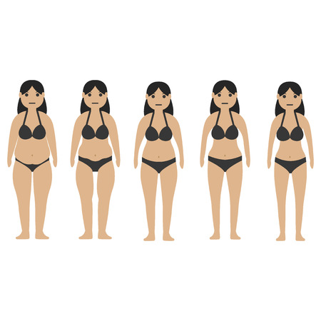 Stages of fat and slim girl