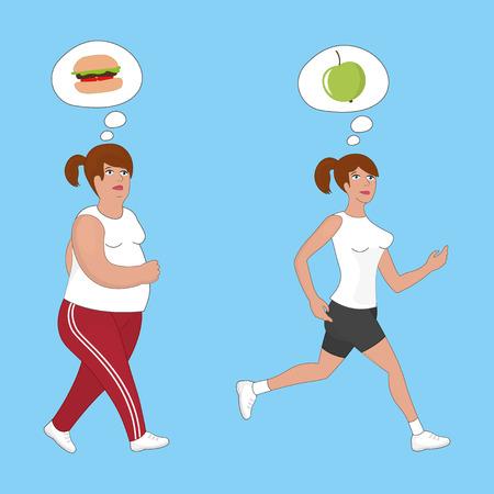 cellulit: Fat women running to slim shape Illusztráció