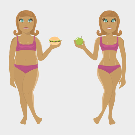 dinnertime: Fat and slim girl with products