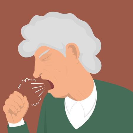 Illustration coughing granny Stock Illustratie