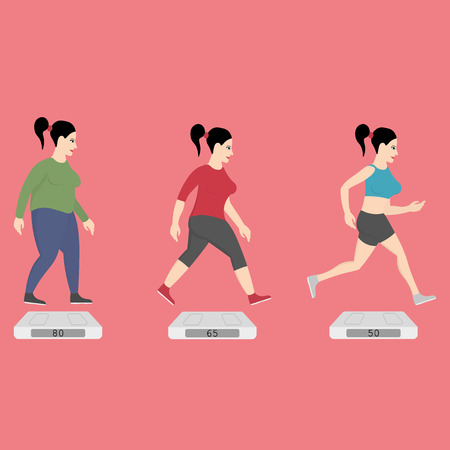 fat girl: Fat women running to slim shape Illustration