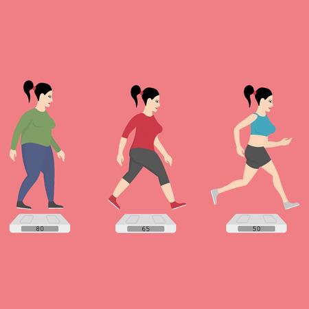 mujer gorda: Mujeres gordas que se ejecutan a la forma delgada Vectores