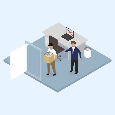 unemployed dismissed: Boss dismissed employee. Isometric 3d.