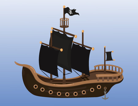 sails: Large pirate ship with black sails