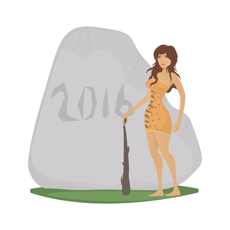 sexy woman standing: Sexy cartoon cave woman near 2016 year stone Illustration