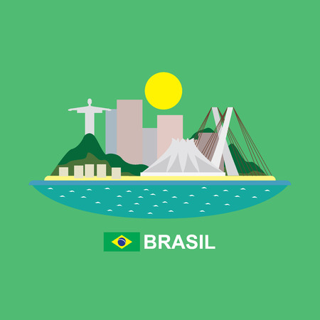 corcovado: Rio de Janeiro and Brasil infographic with famous buildings