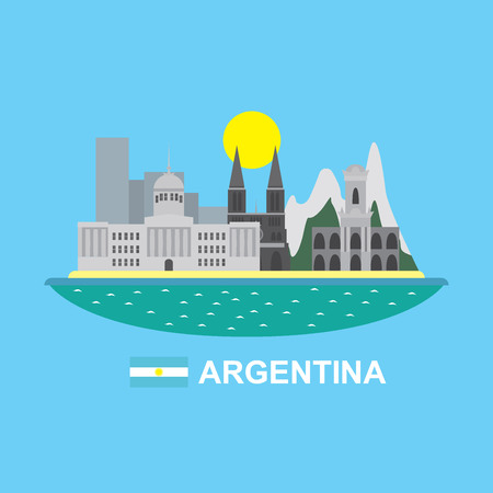 aires: Argentina infographic with famous buildings