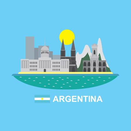 bandera argentina: infograf�a Argentina con edificios famosos