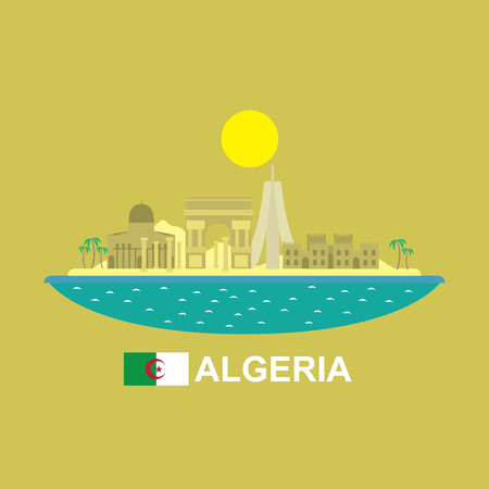 Algeria famous buildings infographic