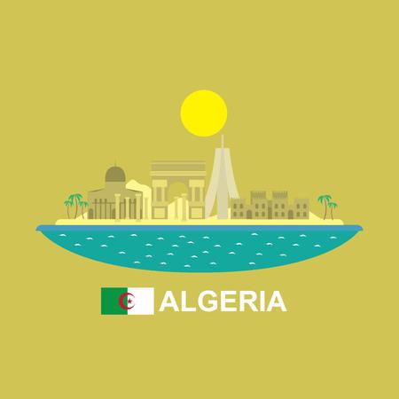 Algeria famous buildings infographic