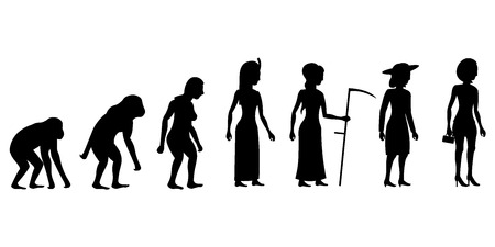 australopithecus: Female evolution vector illustration