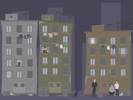 pobreza: Ghetto con ropa que cuelgan de un tendedero y la gente enojada. Los barrios marginales. Vectores