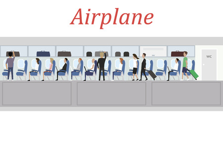 passenger compartment: View Interior of Jet Plane with people