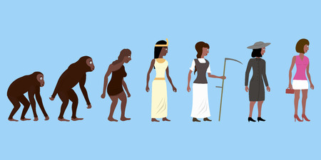 An abstract vector illustration of woman evolution in color