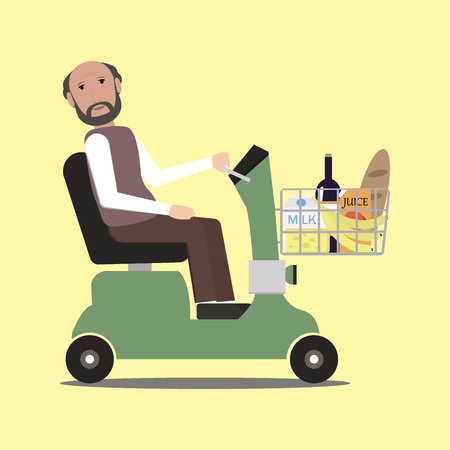 handicapped: Handicapped shopping with mobility scooter Illustration