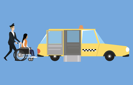 Wheelchair accessible transport with taxi, driver and disabled person