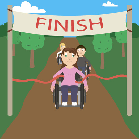 physically: Wheelchair racer crosses the finish line first. Racing among disabled.