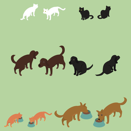 toy toilet bowl: Vector image of a set of isometric cats and dogs Illustration