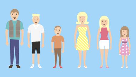 familias felices: Miembros de la familia aislados. Padre, madre, hijo, hija.