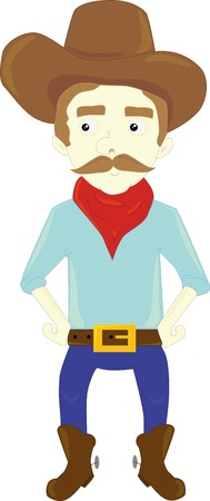 vaquero: A cartoon illustration of american cowboy