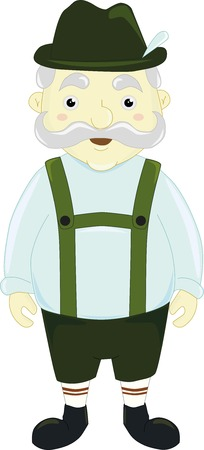 lederhosen: A cartoon illustration of classic german man