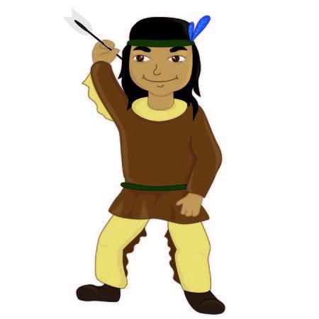 red skinned: Native American boy cartoon style Illustration