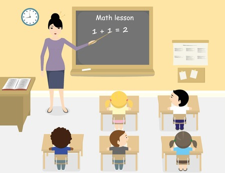 cartoon school girl: A vector illustration of asian teacher teaching math in a classroom