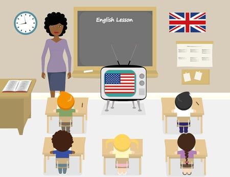school classroom: illustration of african teacher teaching english in a classroom Illustration