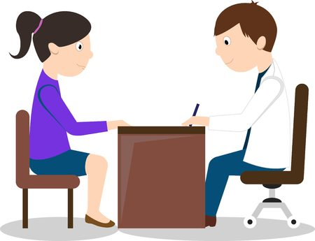 Doctor and female patient sitting at the table. Isolated On White Background