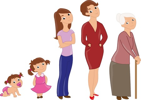 aging woman: Woman aging from infant to senior. Baby, child, teenager, student, adult woman and senior woman. Illustration
