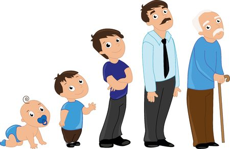 infant: Man aging from infants to seniors. Baby, child, teenager, student, adult man and senior man. Illustration