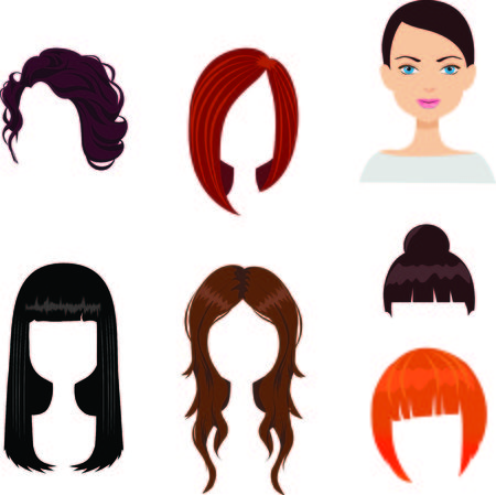 haircuts: Set of six woman haircuts