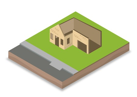 brick and mortar: Isometric unfinished house construction with walls, windows and doors