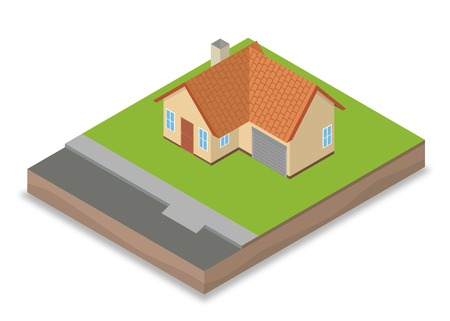 house construction: Isometric unfinished house construction: ready for decoration