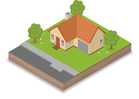 suburban home: Isometric house with backyard, trees and flowers Illustration
