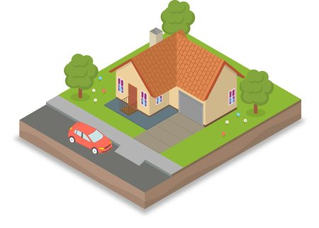 grass isolated: Small isometric house with car and trees