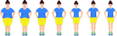 morphology: Stages of weight of a young girl from fat to slim Illustration