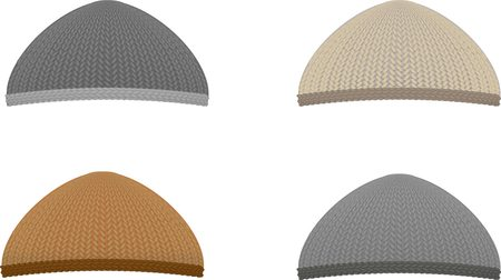 ski wear: Set of four knitted caps Illustration