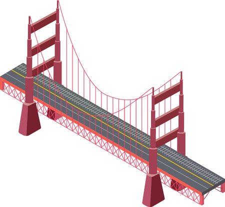 bridge over water: Illustration of a large isometric bridge. Isolated bridge. Isometric suspension bridge with railway.